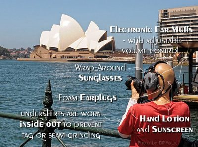 Photographer wearing ear muffs near Sydney Opera House, Autstralia. Includes notes of various sensory reduction devices used.