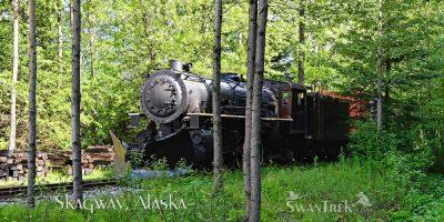 Train in woods, Skagway, Alaska