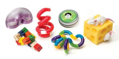 Variety of fidget toys displayed.